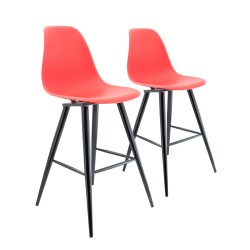 LOT DE 2 TABOURETS DE BAR AVEC PIEDS EN METAL BARRIO II RED PREGO