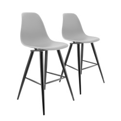LOT DE 2 TABOURETS DE BAR AVEC PIEDS EN METAL BARRIO II TRANSPARENT GRIS PREGO