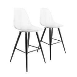 LOT DE 2 TABOURETS DE BAR AVEC PIEDS EN METAL BARRIO II TRANSPARENT PREGO